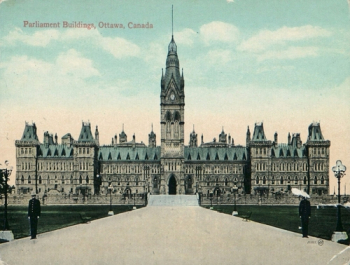 Original Centre Block on Parliament Hill, Ottawa, Canada. Destroyed by fire in 1916.